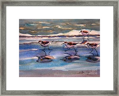 Sandpipers Running In Beach Shade 3-10-15 Framed Print