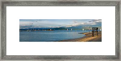 Sandpoint City Beach Framed Print by Marie-Dominique Verdier