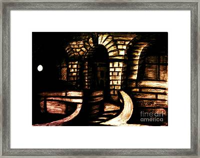 Technical College Sandstone Entrance At Night  Framed Print