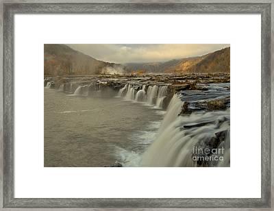 Sandstone Falls Foggy Morning Framed Print by Adam Jewell