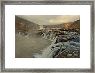 Sandstone Falls Foggy Sunrise Framed Print by Adam Jewell