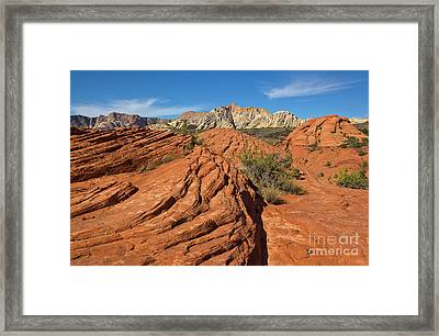 Sandstone Formations Snow Canyon Framed Print by Yva Momatiuk John Eastcott