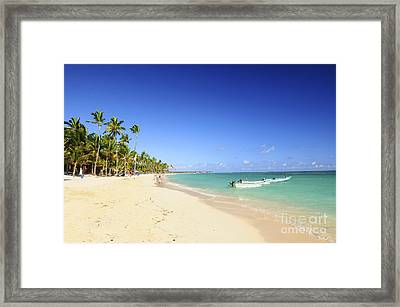 Sandy Beach On Caribbean Resort  Framed Print by Elena Elisseeva