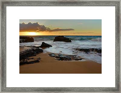 Sandy Beach Sunrise 7 - Oahu Hawaii Framed Print by Brian Harig