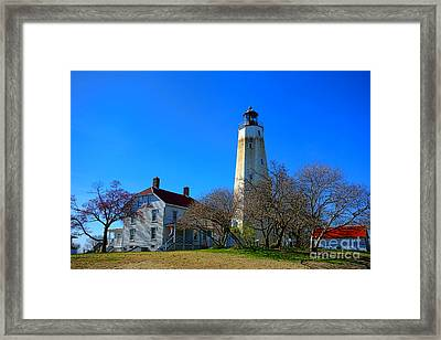Sandy Hook Lighthouse And Keepers Quarters Framed Print by Olivier Le Queinec