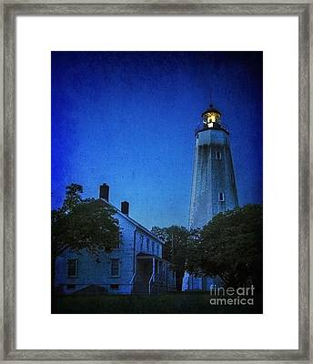 Framed Print featuring the photograph Sandy Hook Lighthouse At Twilight by Debra Fedchin