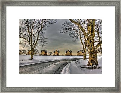 Sandy Hook Officers Row In Snow Framed Print by Geraldine Scull