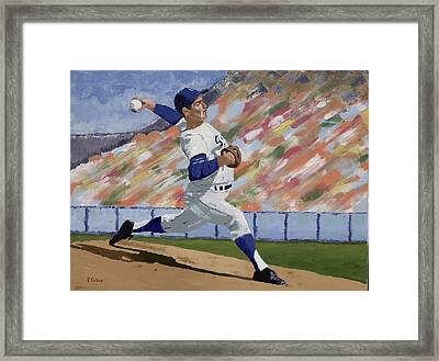 Sandy Koufax Framed Print by Ron Gibbs