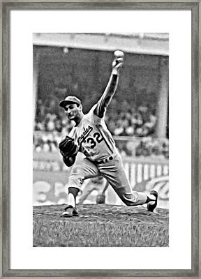 Sandy Koufax Throwing The Ball Framed Print