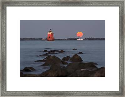 Sandy Point Lighthouse Moonrise Framed Print