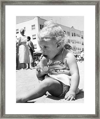 Sandy Toes For Lunch Framed Print by Underwood Archives