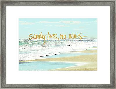 Sandy Toes, No Woes Framed Print by Bruce Nawrocke