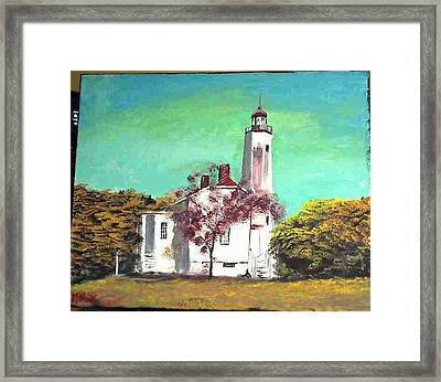 Sandyhook Light House Framed Print by M Bhatt