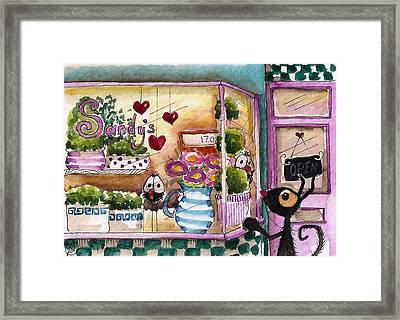 Sandy's Floral Shop Framed Print by Lucia Stewart