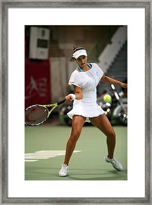Sania Mirza On The Ball In Doha Framed Print