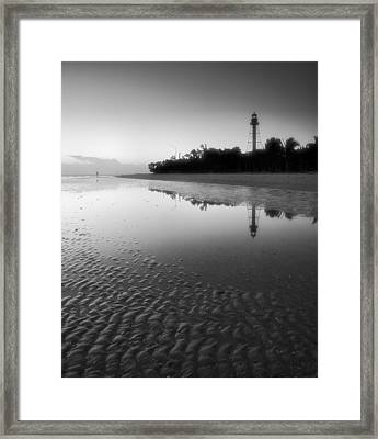 Sanibel Lighthouse And Beach II Framed Print by Steven Ainsworth
