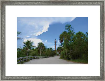 Framed Print featuring the photograph Sanibel Lighthouse Road by Timothy Lowry