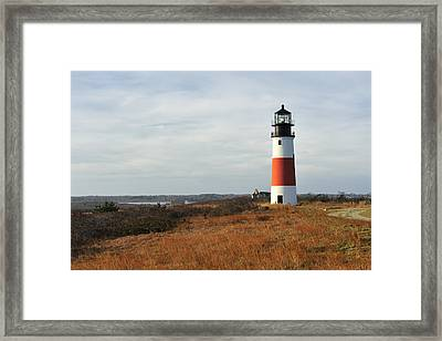 Sankaty Head Lighthouse Nantucket In Autumn Colors Framed Print by Marianne Campolongo