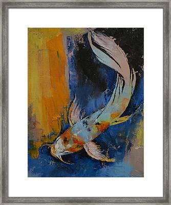 Sanshoku Koi Framed Print by Michael Creese