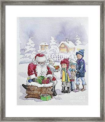 Santa And Children Framed Print