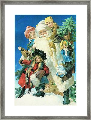 Santa And His Friends Framed Print by Unknown