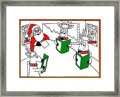 Santa And Reindeer Conference Framed Print by Genevieve Esson