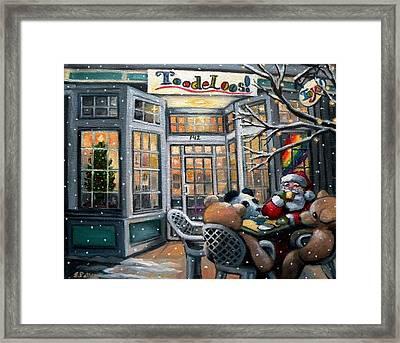 Santa At Toodeloos Toy Store Framed Print