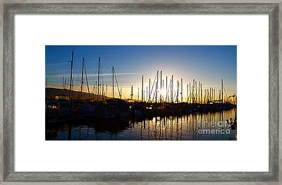 Santa Barbara Harbor With Yachts Boats At Sunrise In Silhouette Framed Print by ELITE IMAGE photography By Chad McDermott