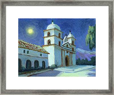 Santa Barbara Mission Moonlight Framed Print by Diane McClary