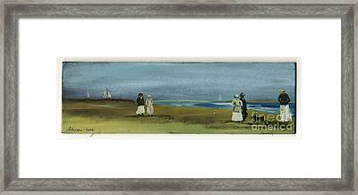 Santa Barbara Sea Shore Beach With Sailboats Framed Print by Cathy Peterson