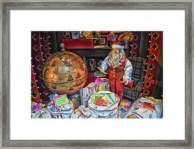 Santa Checking His Mail Hdr Framed Print by Thomas Woolworth