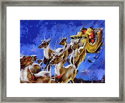 Santa Claus And Reindeer Framed Print