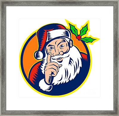 Santa Claus Father Christmas Retro Framed Print by Aloysius Patrimonio