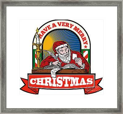 Santa Claus Father Christmas Writing Letter Framed Print by Aloysius Patrimonio