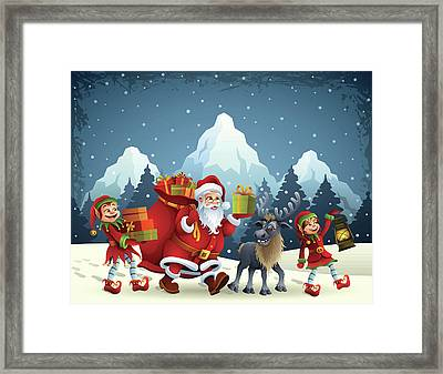 Santa Claus Is Coming Framed Print by Alonzodesign