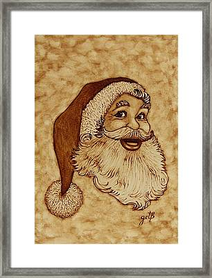 Santa Claus Joyful Face Framed Print by Georgeta  Blanaru