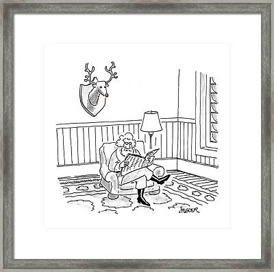 Santa Claus Sits Reading A Newspaper Framed Print by Jack Ziegler