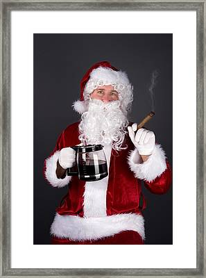Santa Claus Smoking A Cigar And Drinking Coffee Framed Print