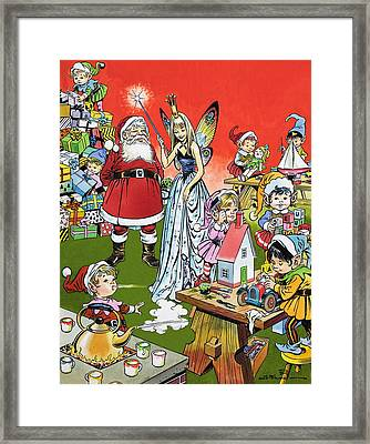 Santa Claus Toy Factory Framed Print
