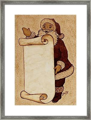 Framed Print featuring the painting Santa Claus Wishlist Original Coffee Painting by Georgeta  Blanaru