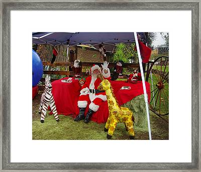 Santa Clausewith The Animals Framed Print