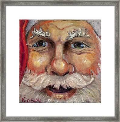 Santa Closeup Framed Print by Sheila Kinsey