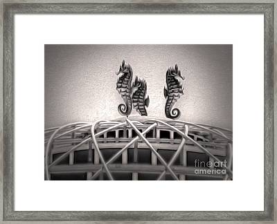 Santa Cruz Boardwalk - Sea Horses In Sepia Framed Print by Gregory Dyer