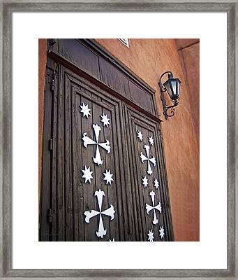 Santa Cruz De La Canada Mission Doors Framed Print by Julie Magers Soulen