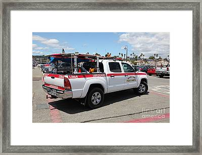 Santa Cruz Fire Department Lifeguard Truck On The Municipal Wharf At Santa Cruz Beach Boardwalk Cali Framed Print by Wingsdomain Art and Photography