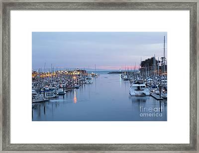 Santa Cruz Harbor At Dusk Framed Print