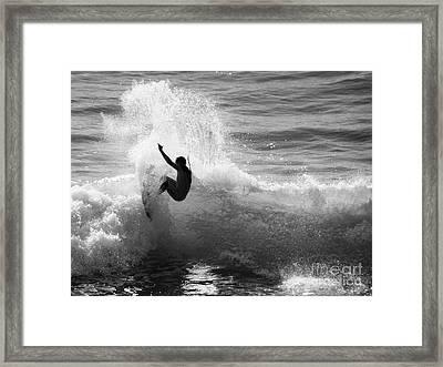 Santa Cruz Surfer Black And White Framed Print by Paul Topp