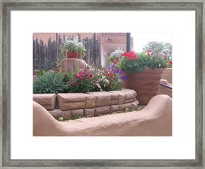 Framed Print featuring the photograph Santa Fe Adobe Patio by Dora Sofia Caputo Photographic Art and Design