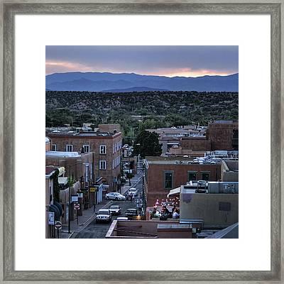 Framed Print featuring the photograph Santa Fe Evening Rooftops by John Hansen