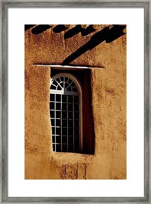 Santa Fe Nm Window Framed Print by Jacqueline M Lewis
